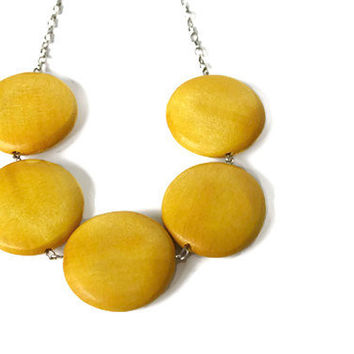 Mustard Yellow Round Chunky Bead Necklace Big by VeniciaCreations