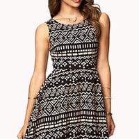 Tribal Print Fit & Flare Dress