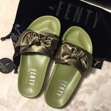 PUMA fenty rihanna silk Bow Slide Sandals Shoes sneakers spring 10-color Army Green