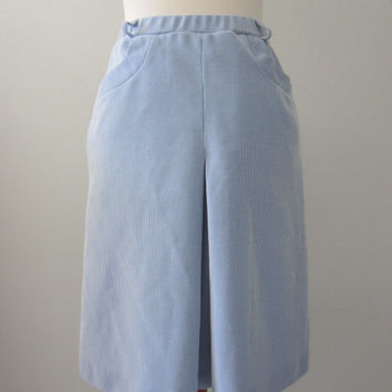 60s Blue Striped Pleated Secretary Skirt w/ Pockets, S-M / W26 W28 // Vintage A-Line Skirt