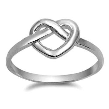 .925 Sterling Silver Heart Love Knot Pretzel Ladies ring size 4-10
