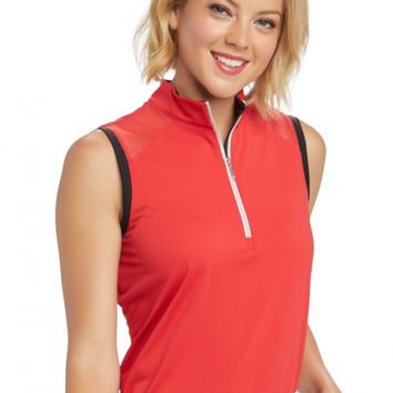 b32e0b47c6e8a GGblue Ladies Sophia Sleeveless Mock Golf Shirts - REFINED (Scarlet Black)