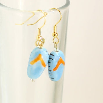 Blue Flip Flop Lampwork Glass Bead Earring - Womens Jewelry - Summer fun Earrings - Beach Goer Jewelry
