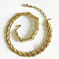 Vintage Crown Trifari Gold Toned Leaf Choker Necklace with Brushed Gold Tone Texture - Crown over T Signature - Classic Jewelry