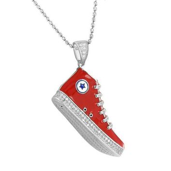 DCKL9 Sneaker Converse Shoes Pendant Chain 925 Silver Red