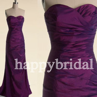 Long Purple Prom Dresses Lovely Sweetheart Bridesmaid Dresses A line Party Dresses Evening Dresses Homecoming Dresses