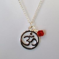 Yoga Ohm Sterling Silver Necklace with Optional Birthstone