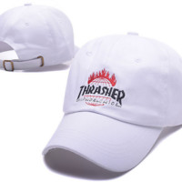 White THRASHER Cotton Baseball Outdoor Baseball Golf Sports Cap Hats