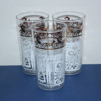 Anchor Hocking Pennsylvania Dutch Glasses (Set of 3), vintage drinkware, barware, tumblers
