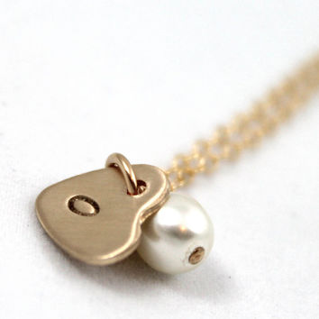 Personalized necklace, Hand stamped gold filled, Personalized gold necklace, Swarovski Pearl with Gold Filled Stamped Heart Charm