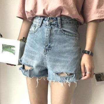 Korean Fashion Women Denim Shorts Summer High Waist Tassel Ripped Hole Jeans Shorts Female Casual Loose Straight Shorts