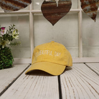 IT'S A BEAUTIFUL DAY Baseball Hat Low Profile Embroidered Baseball Caps Dad Hats Burnt Yellow
