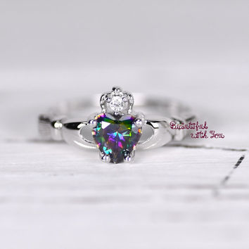 925 Sterling Silver Claddagh Ring Womens Wedding Band Promise Ring Heart Shaped Rainbow Topaz CZ Irish Celtic Ring Friendship Heart Ring