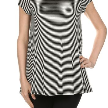 Pencil Striped Sweep Maternity Top