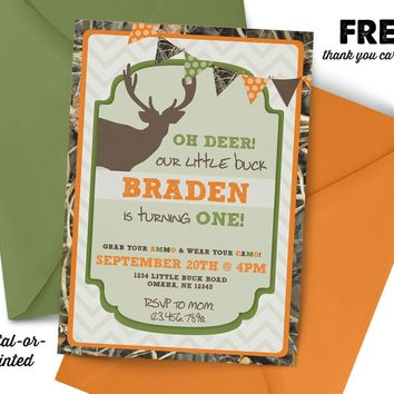 Camo Deer Hunting Birthday Invitation