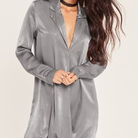 Missguided - Grey Wrap Over Collar Oversized Dress