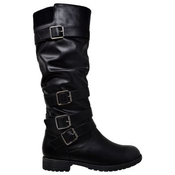 Strappy Knee High Slouch Buckle Boot
