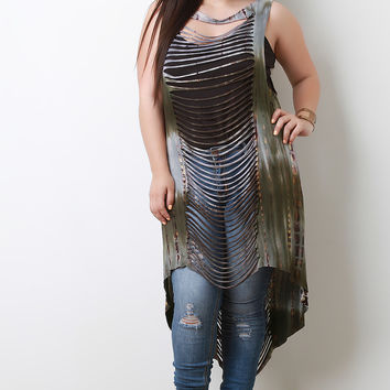 Tie-Dye Center Slit Cover-Up Top