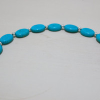 Oval Beaded Turquoise Color Bracelet with silver beads