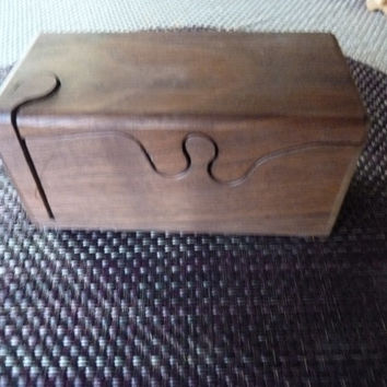 Handcrafted 4 Piece Walnut Puzzle Box with secret inner compartment