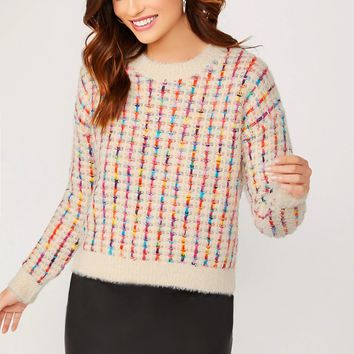 Rainbow Color Boucle Knit Insert Fuzzy Sweater