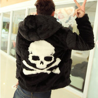 Hot sell 2015 Winter new Leather grass overcoats male skull pattern fashion Hoodie faux fur coat Cozy black rabbit fur jacket