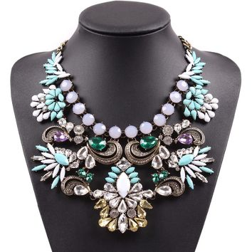 Resin Flower Big Chunky Statement Necklace
