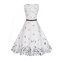 Women Music Note Printing Dress Casual Sleeveless White Slim Waist Big Swing Dresses 2018 Spring Summer Beach bodycon dress