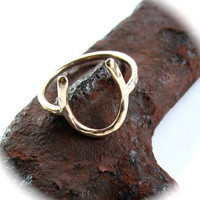 Horseshoe Ring, Lucky Charm Ring, 14k Gold Fill, Hammered, Horse Lover, Equestrian, Handmade