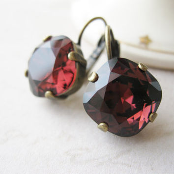 Burgundy Rhinestone Earrings Swarovski Elements Bridesmaid Jewelry Winter Wedding Rustic Bridal Maroon Deep Red Antique Brass Nickel free