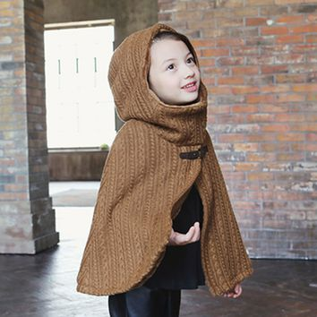 Alice Double Layered Knit Hooded Cape - Brown