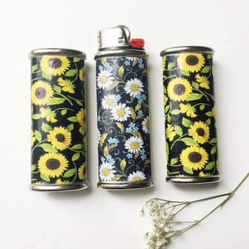Daisy or Sunflower Metal Lighter Case