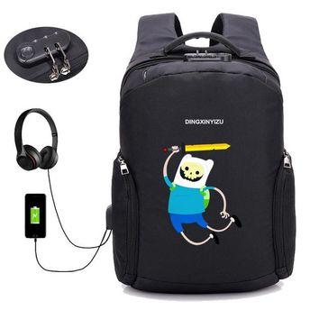 Anime Backpack School Japan kawaii cute Adventure Time Backpack USB Charge Anti Theft Backpack Men Women computer bag School book Bags Travel Backpack AT_60_4