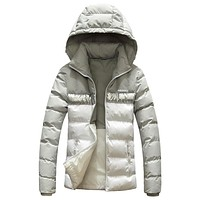 Adidas New Fashion Autumn And Winter Women Men Hooded Down Jacket Cap Removable Gray