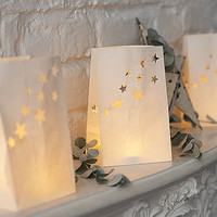 Set Of Five Paper Star Candle Lanterns