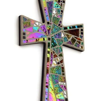"Mosaic Wall Cross, Large, Black + Gray with Iridescent Glass + Silver Mirror,  Handmade Stained Glass Mosaic Cross Wall Decor, 15"" x 10"""