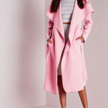 Pink Long Sleeve Lapel Pockets Coat