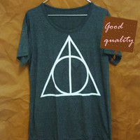 Women tops Harry Potter shirt triangle graphic short sleeve crew neck tshirt women clothes size S M L XL