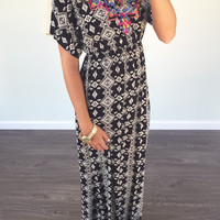 Capitola Ivory And Black Print Embroidered Maxi Dress