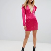 Glamorous Shift Dress With Plunge Front And Ruffle Trim Shoulder at asos.com