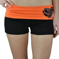 Juniors Two Tone Fold Over Volleyball Spandex Shorts Pink or Turquoise (Medium, Light Aqua)
