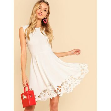 White Round Neck Sleeveless A-line Dress