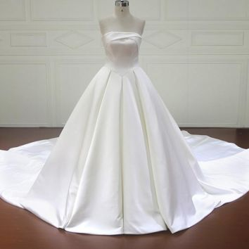 New Design Ball Gown Wedding Dresses Strapless Lace Up Back Simple Wedding Gowns Wedding Dresses