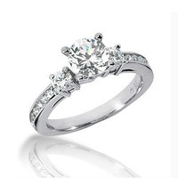 14K White Gold Round Cut Diamond Promise Engagement Ring (1.15ct.tw, HI Color, SI2 Clarity)