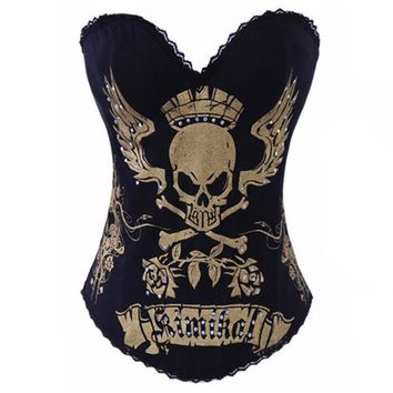 hot sale corset top edhardy punk sexy corset and bustier skull corset fashion corselet women party club wear punk tops S-2XL