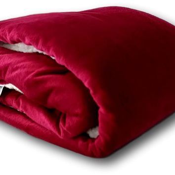 Tache Holiday Red Microfleece with Sherpa Back Throw Blanket