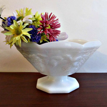 White Milk Glass Compote -Vintage, Serving, Fruit Bowl, Holiday, Cottage Chic, Home Decor