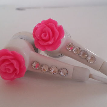 Honey Badgers Petite Hot Pink Rose Earbuds with by HoneyBadgerBuds