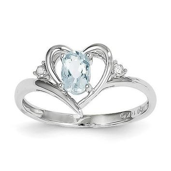14k White Gold Genuine Oval Aquamarine & Diamond Heart Ring