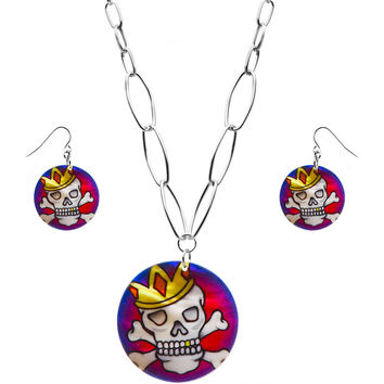 Tattoo Inspiration Skull Crossbones Necklace Earring Set